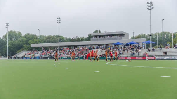 "Water-based hockey pitch for the new merged club ""Oranje-rood"" in Holland"